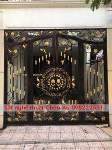 cửa cổng , bộ cổng sắt mỹ thuật đep