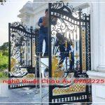 Thi công cửa cổng 4 cánh sắt mỹ thuật Đan Phượng, Hoài Đức, Hà Nội