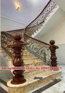 lan can cầu thang sắt nghệ thuật