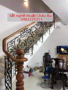 lan can cầu thang sắt hoa văn